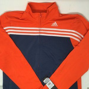 adidas Boys Colorblock Tricot Jacket, Orange, XL